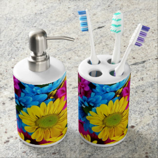 red, blue and yellow daisies bathroom set
