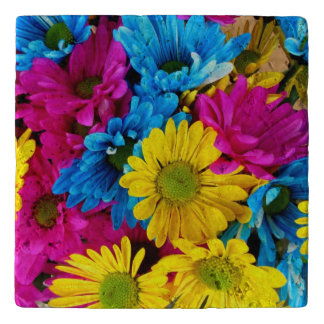 red, blue and yellow daisies travertine coaster