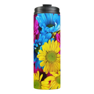 red, blue and yellow daisies tumbler