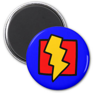 Red Blue and Yellow Lightning Bolt 2 Inch Round Magnet