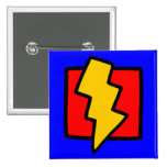 Red Blue and Yellow Lightning Bolt 2 Inch Square Button