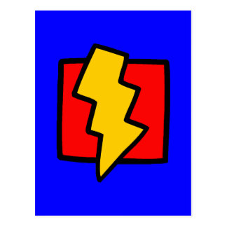Red Blue and Yellow Lightning Bolt Postcard