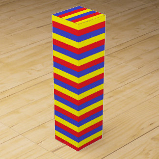 Red, Blue and Yellow Stripes Wine Bottle Box