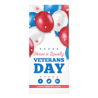 Red Blue Balloons Have a lovely veterans day Full Colour Rack Card