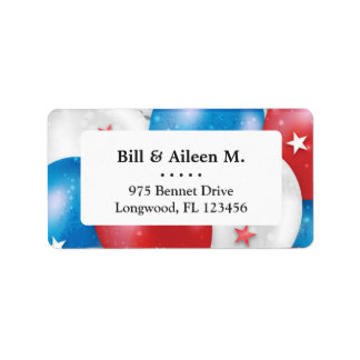 Red Blue Balloons patriotic USA flag veterans day Label