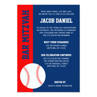 "Red Blue Baseball Bar Mitzvah 5"" X 7"" Invitation Card"