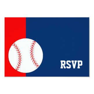 "Red Blue Baseball Bar Mitzvah RSVP 3.5"" X 5"" Invitation Card"
