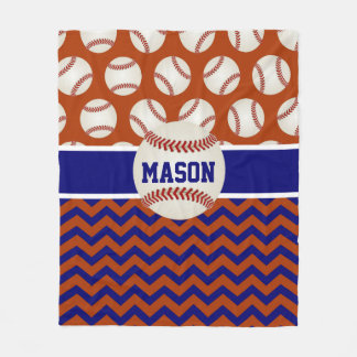 Red Blue Baseball Personalized Fleece Blanket
