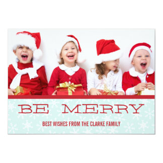 "RED BLUE BE MERRY HOLIDAY PHOTO CARD 5"" X 7"" INVITATION CARD"