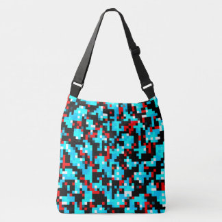 Red Blue Black White Pixel Abstract Pattern Crossbody Bag