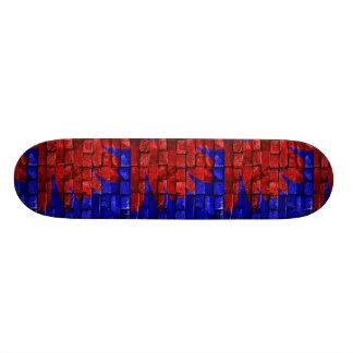 Red & Blue Bricks Design Skateboard Deck