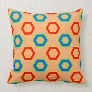 Red & blue, brown Vector Hexagon Pattern Throw Pillow