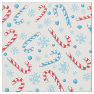 Red blue candy canes snowflakes - Christmas gifts Fabric