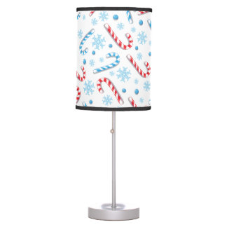 Red blue candy canes snowflakes - Christmas gifts Table Lamp