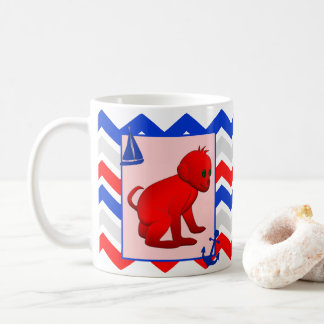 Red Blue Chevron with Baby Monkey Coffee Mug