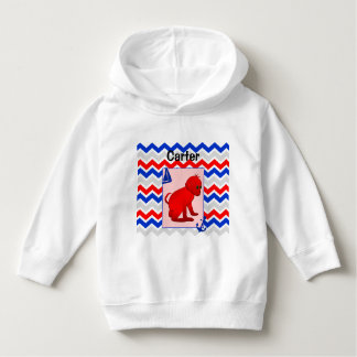 Red Blue Chevron with Baby Monkey Hoodie