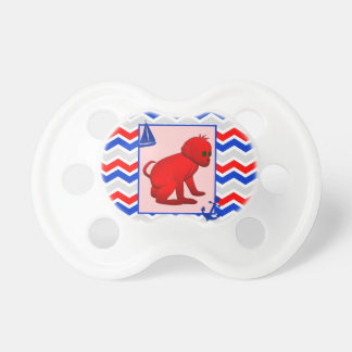 Red Blue Chevron with Baby Monkey Pacifier