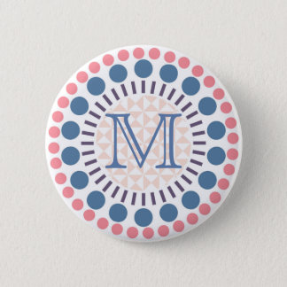Red/Blue Circles Customisable Monogram Badge 2 Inch Round Button