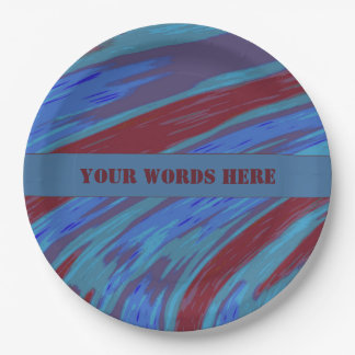 Red Blue Color Swish 9 Inch Paper Plate