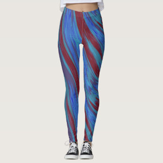 Red Blue Color Swish Abstract Leggings