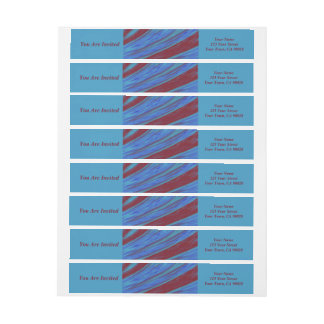 Red Blue Color Swish abstract Wrap Around Label