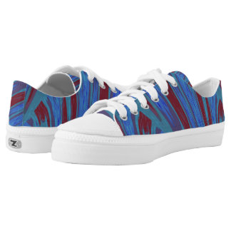 Red Blue Color Swish Low-Top Sneakers