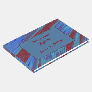 Red Blue Colour Swish Abstract Guest Book