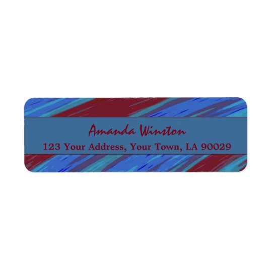 Red Blue Colour Swish Abstract Return Address Label