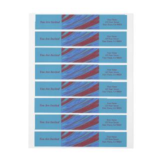 Red Blue Colour Swish abstract Wraparound Return Address Label