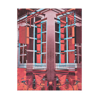 Red blue Copenhagen windows reflection digital art Canvas Print