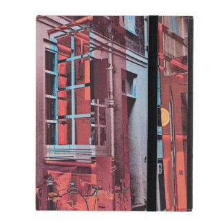 Red blue Copenhagen windows reflection digital art iPad Folio Case