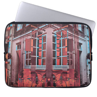 Red blue Copenhagen windows reflection digital art Laptop Sleeve