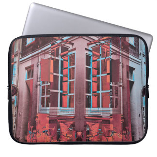 Red blue Copenhagen windows reflection digital art Laptop Sleeve