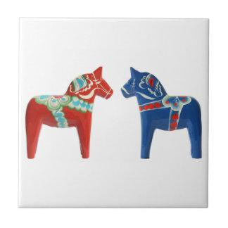 Red & Blue Dala Horse Tile