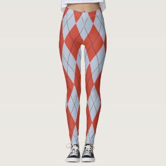 Red Blue Diamond Argyle Geometric Pants Leggings