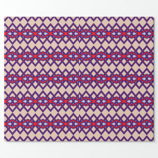 Red & Blue Diamond Flower Wrapping Paper
