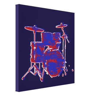red & blue drums stretched canvas print