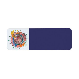 Red Blue Flower Return Address Label
