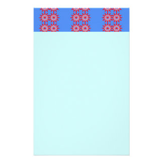 Red & blue flowers & hearts personalized stationery
