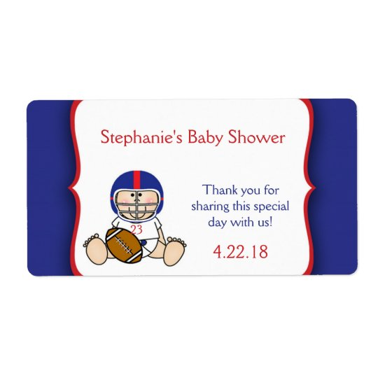 Red Blue Football Baby shower water bottle favour
