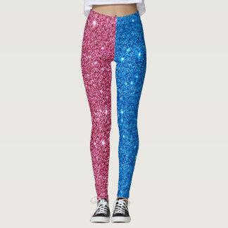 Red+Blue Glitter Athleisure Yoga Pants Leggings