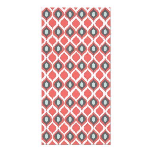 Red Blue Gray Geometric Ikat Tribal Print Pattern Photo Greeting Card