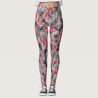 Red Blue Gray White Leggings