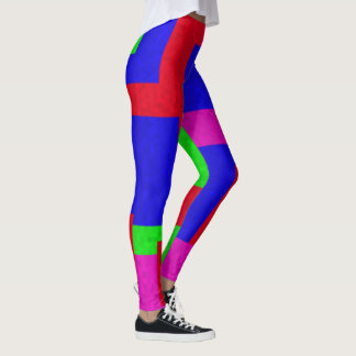 Red Blue Green Abstract Coloured Blocks, Leggings