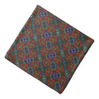 Red Blue Green  Floral Pattern Bandana