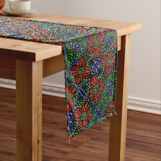 Red Blue Green Floral Pattern Long Table Runner
