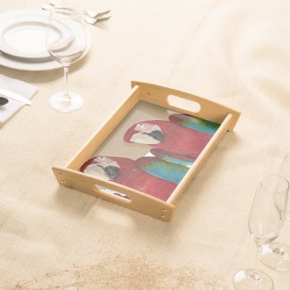 Red, Blue, Green Macaws (Parrots) Serving Tray