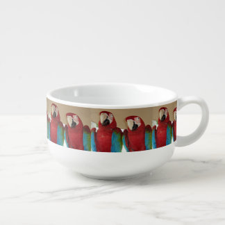 Red, Blue, Green Macaws (Parrots) Soup Mug