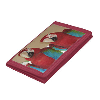 Red, Blue, Green Macaws (Parrots) Tri-fold Wallets