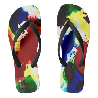 Red Blue Green Yellow Splash by DelynnAddams Flip Flops